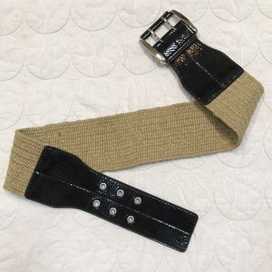 {Express} Black Patent and Natural Jute Wide Belt